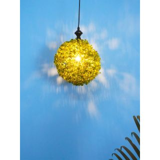 Fos Lighting 9 inches Faux Green Grass Ball Topiary Hanging Pendant Light