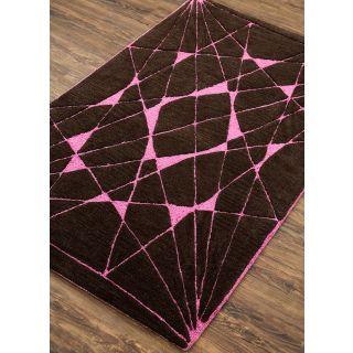 Jaipur Rugs Modern Mahogany Festival Fuchsia 3X5 Feet Wool Viscose Geometric Area Rug