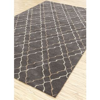 Jaipur Rugs Modern Liquorice Silver 5X8 Feet Wool Geometric Area Rug