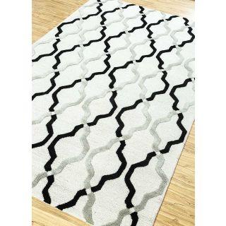 Jaipur Rugs Modern White Ebony 5X8 Feet Wool Viscose Geometric Area Rug