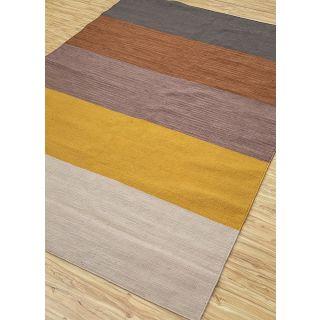 Jaipur Rugs Modern Dark Ivory Silver Lake Blue 6'2X9'2 Feet Polyester Stripes Area Rug