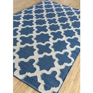 Jaipur Rugs Modern Deep Blue White 5X8 Feet Wool Trellis Area Rug