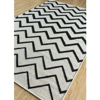 Jaipur Rugs Modern White Ebony 5X8 Feet Wool Geometric Area Rug