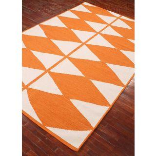 Jaipur Rugs Modern White Orange 5X8 Feet Wool Geometric Area Rug