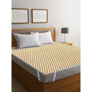 Rajasthan Décor Screen Print Cotton Quilted Double Bed Mattress Protector(RDMP-01)