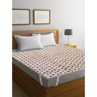 Rajasthan Décor Screen Print Cotton Quilted Double Bed Mattress Protector(RDMP-02)