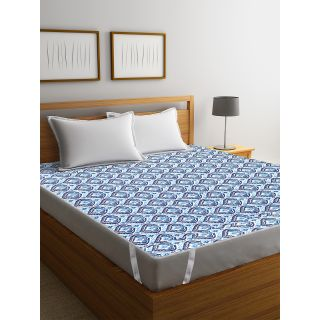 Rajasthan Décor Screen Print Cotton Quilted Double Bed Mattress Protector(RDMP-03)