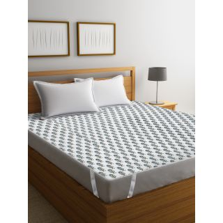 Rajasthan Décor Screen Print Cotton Quilted Double Bed Mattress Protector(RDMP-05)