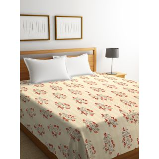 Rajasthan Décor Screen Print Ivory Color Floral Double Bed Kantha Bed Cover(RDQ-10)
