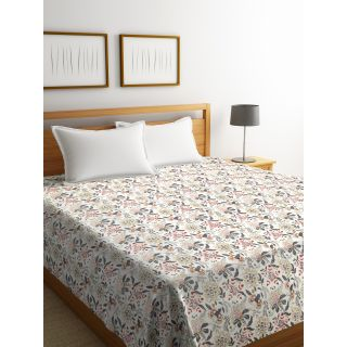 Rajasthan Décor Screen Print off white Floral Double Bed Kantha Bed cover(RDQ-1)