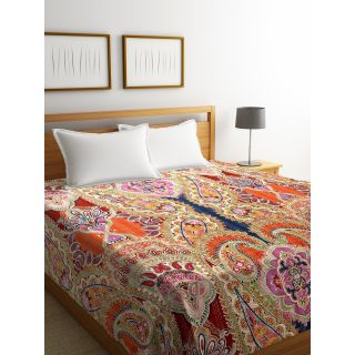 Rajasthan Décor Screen Print Multi Colored Traditional Jaipuri Kantha Double Bed Cover(RDQ-11)