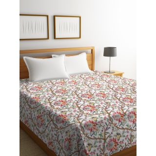 Rajasthan Décor Screen Print White Color Floral Kantha Double Bed Cover(RDQ-12)