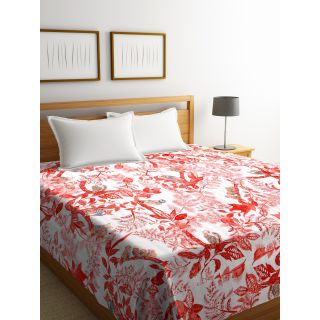 Rajasthan Décor Screen Print Red and White ColorTraditional Jaipuri Kantha Double Bed Cover(RDQ-13)