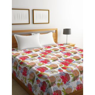 Rajasthan Décor Screen Print Red and White ColorTraditional Jaipuri Kantha Double Bed Cover(RDQ-14)