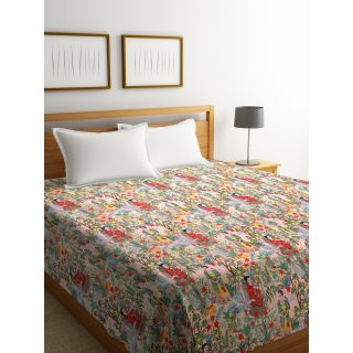 Rajasthan Décor Screen Print Traditional Jaipuri Kantha Double Bed Cover(RDQ-2)