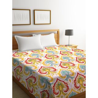 Rajasthan Décor Screen Print Multi Colored Traditional Jaipuri Kantha Double Bed Cover(RDQ-3)