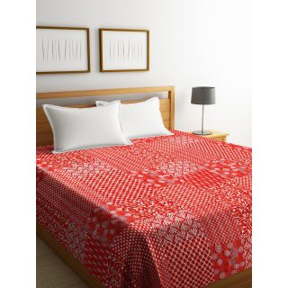 Rajasthan Décor Screen Print Red ColorTraditional Jaipuri Kantha Double Bed Cover(RDQ-6)