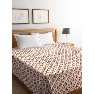 Rajasthan Décor Screen Print Off White Floral Kantha Double Bed Cover(RDQ-7)