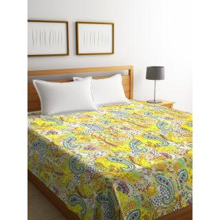 Rajasthan Décor Screen Print Paisley Yellow Color Double Bed Kantha Bed Cover(RDQ-8)