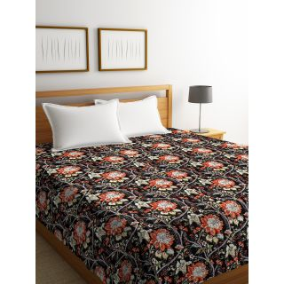 Rajasthan Décor Screen Print Black Color Floral Double Bed Kantha Bed Cover(RDQ-9)