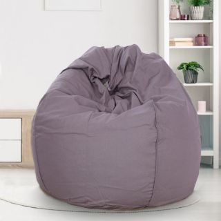 Reme Grey 100% Organic Cotton XXL Bean Bag Cover with Beans (REFH_103-With Beans)