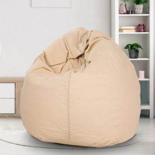 Reme Beige 100% Organic Cotton XXL Bean Bag Cover with Beans (REFH_104-With Beans)