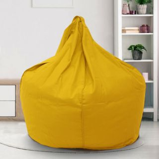 Reme Yellow 100% Organic Cotton XXL Bean Bag Cover with Beans (REFH_109-With Beans)