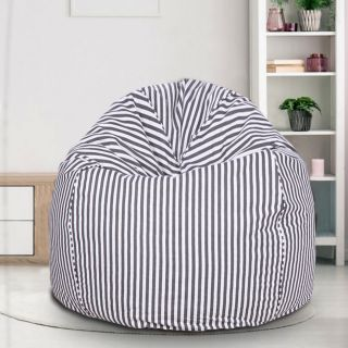 Reme Black and White Strips 100% Organic Cotton XXL Bean Bag Cover with Beans  (REFH_110-With Beans)
