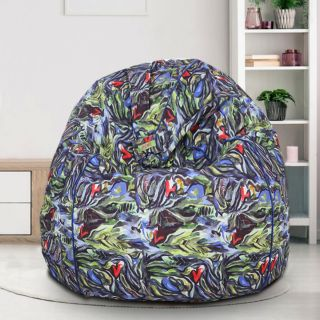 Reme Abstract Printed 100% Organic Cotton Digital Printed XXL Bean Bag Cover with Beans (REFH_112-With Beans)