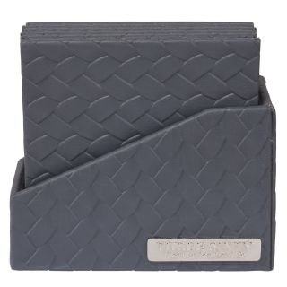 COASTER IN Faux Leather SET OF 6 (Grey)