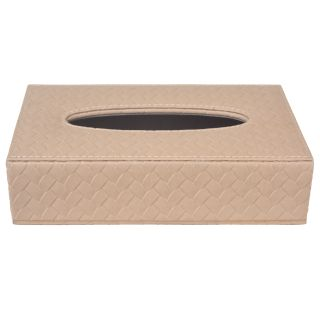 TISSUE BOX IN Faux Leather (Beige)