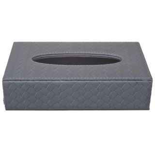 TISSUE BOX IN Faux Leather (Grey)