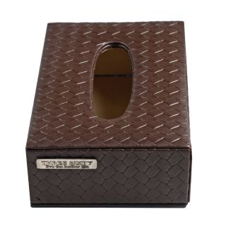 TISSUE BOX IN Faux Leather (Brown)