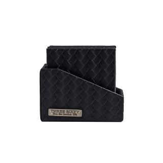 COASTER IN Faux Leather SET OF 6 (Black)