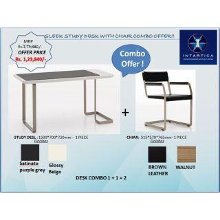 Sleek Workstation + Brown Chair
