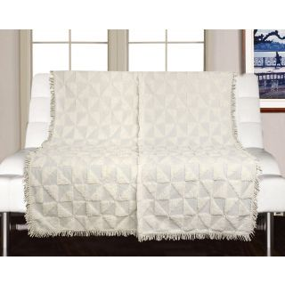 Saral Home Soft Cotton Unique Firki Design Tufted Two Seater Throw/ Sofacover - (Ivory)-SOS-1010-IVORY