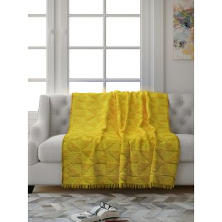 Saral Home Soft Cotton Unique Firki Design Tufted Two Seater Throw/ Sofacover - (Yellow)-SOS-1010-YELLOW
