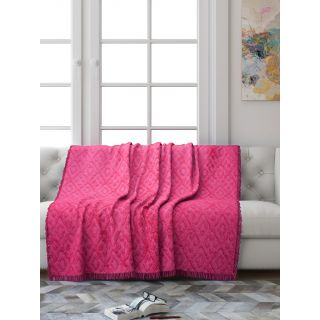 Saral Home Soft Cotton Unique Diamond Design Tufted Three Seater Throw/ Sofacover - (Pink)-SOS-1011-PINK