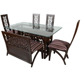 Star Dining Table with glass top 5' x 3' with Qty 6 chairs