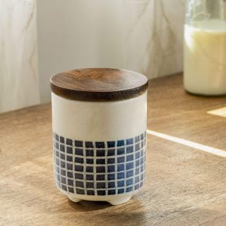 Mozaic Ceramic Jar with Wooden Lid