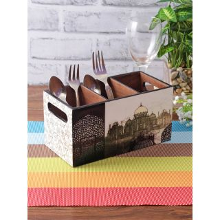 Black and White Color Digital Printed MDF Cutlery Holder