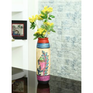 Handcrafted Terracotta Vase with Multicolour Worli Painting