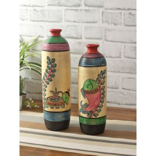 Set of 2 Handcrafted Worli painted Terracotta Vases