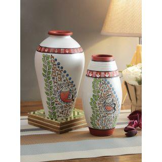 Set of 2 Worli Style Handpainted Terracotta Vases