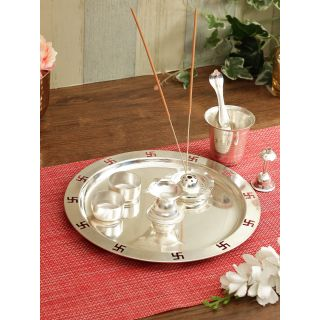 Silver Plated Stainless Steel Pooja Thali Set-8