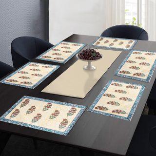 "RatanCart Floral Printed Washable Table Placemat, Set of 6, 13""x19"", Multicolor (TPM0002)"