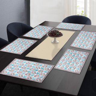 "RatanCart Floral Printed Washable Table Placemat, Set of 6, 13""x19"", Multicolor (TPM0003)"