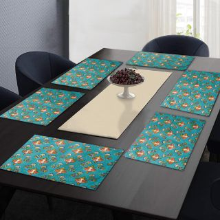 """RatanCart Floral Printed Washable Table Placemat, Set of 6, 13""""x19"""", Green (TPM0004)"""