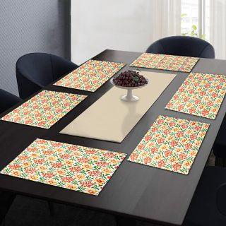 "RatanCart Floral Printed Washable Table Placemat, Set of 6, 13""x19"", Multicolor (TPM0006)"