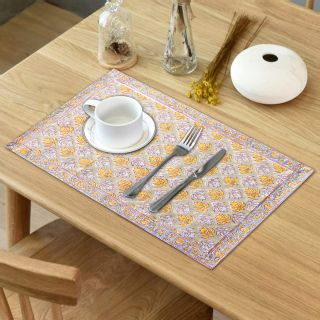 """RatanCart Floral Printed Washable Table Placemat, Set of 6, 13""""x19"""", Grey (TPM0007)"""